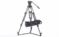 Sachtler 1048 Fluid head FSB 10 T with ENG 2 CF Tripod, ground spreader SP100 and padded bag